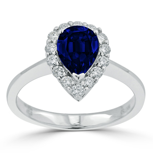 Emery  Halo  Blue  Sapphire  Diamond  Ring  in  18K  White  Gold  With  1  1/3  carat  Pear  Blue  Sapphire