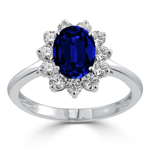 Jordyn Halo Blue Sapphire Diamond Ring in 18K White Gold With 1.47 carat Oval Blue Sapphire