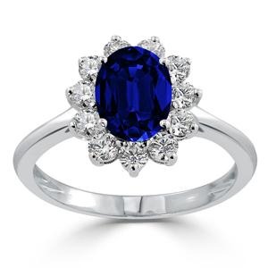 halo blue sapphire diamond ring