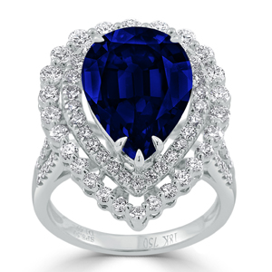 Ariel  Halo  Blue  Sapphire  Diamond  Ring  in  18K  White  Gold  With  8  1/2  carat  Pear  Blue  Sapphire