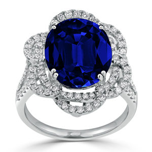 Isla Halo Blue Sapphire Diamond Ring in 18K White Gold With 8.56 carat Oval Blue Sapphire