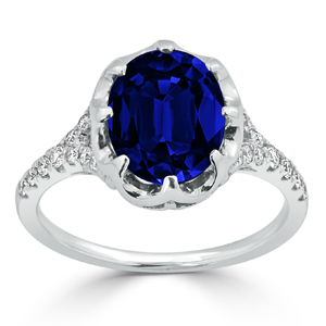 Kai Blue Sapphire Diamond Engagement Ring With 3 1/2 carat Oval Blue Sapphire