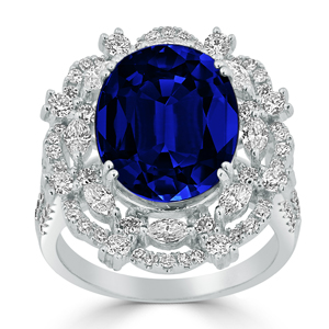 Mya Blue Sapphire Diamond Ring in 18K White Gold With 10.15 carat Oval Blue Sapphire