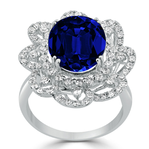 Brooke Blue Sapphire Diamond Ring in 18K White Gold With 10.05 carat Oval Blue Sapphire