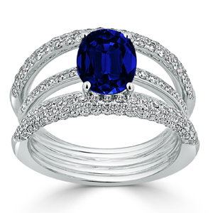 Norah Blue Sapphire Diamond Ring in 18K White Gold With 2.53 carat Oval Blue Sapphire