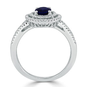 Aliyah  Double  Halo  Blue  Sapphire  Diamond  Ring  in  18K  White  Gold  With  1  carat  Oval  Blue  Sapphire