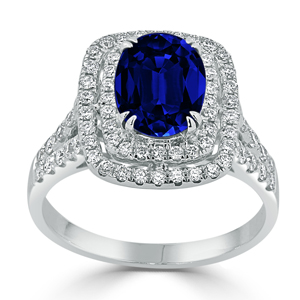 Gracie  Double  Halo  Blue  Sapphire  Diamond  Ring  in  18K  White  Gold  With  2  1/2  carat  Oval  Blue  Sapphire