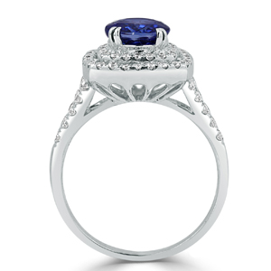 Gracie  Double  Halo  Blue  Sapphire  Diamond  Ring  in  18K  White  Gold  With  2.54  carat  Oval  Blue  Sapphire