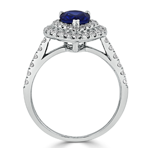 Juliana  Double  Halo  Blue  Sapphire  Diamond  Ring  in  18K  White  Gold  With  1  1/2  carat  Pear  Blue  Sapphire