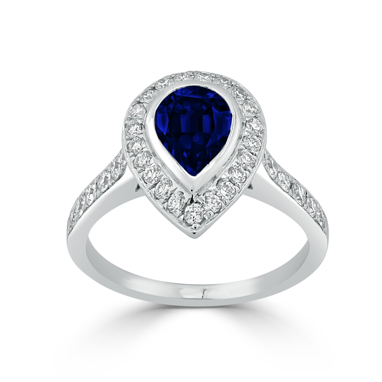 Laila Halo Blue Sapphire Diamond Ring in 18K White Gold With 1 1/5 carat Pear Blue Sapphire