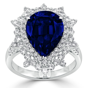 Valerie Double Halo Blue Sapphire Diamond Ring in 18K White Gold With 6.23 carat Pear Blue Sapphire