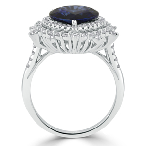 Valerie  Double  Halo  Blue  Sapphire  Diamond  Ring  in  18K  White  Gold  With  6  1/4  carat  Pear  Blue  Sapphire