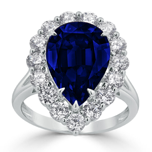 Reese Halo Blue Sapphire Diamond Ring in 18K White Gold With 6 5/8 carat Pear Blue Sapphire