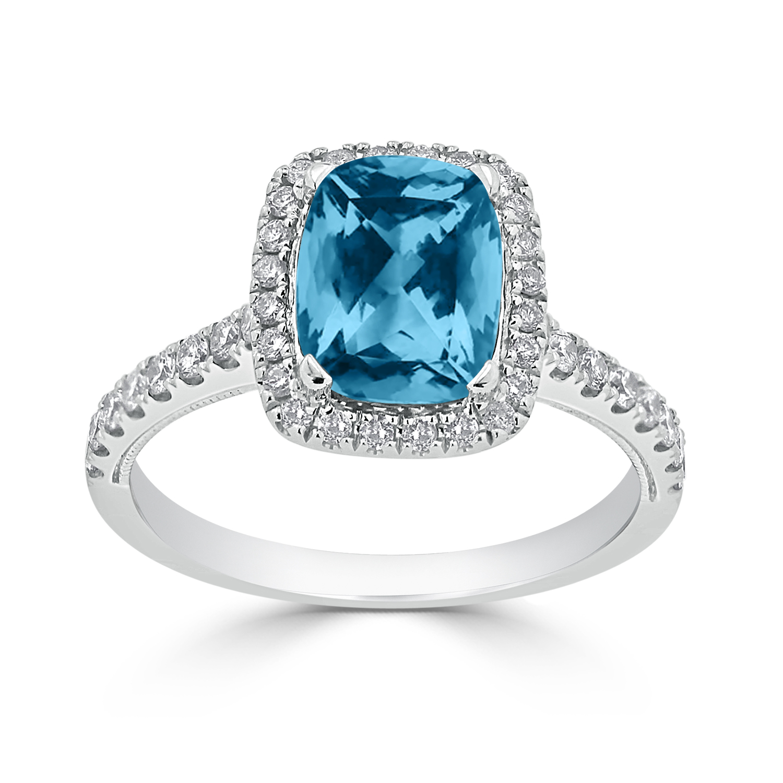 Halo Sky Blue Topaz Diamond Ring in 14K White Gold with 1.85 carat Cushion Sky Blue Topaz