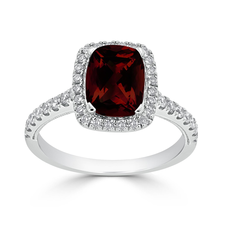 Halo Garnet Diamond Ring in 14K White Gold with 1.85 carat Cushion Garnet