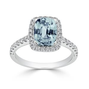 Halo Aquamarine Diamond Ring in 14K White Gold with 1.30 carat Cushion Aquamarine