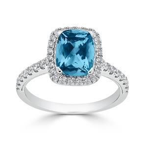 Halo Sky Blue Topaz Diamond Ring in 14K White Gold with 1.85 carat Cushion Sky Blue Topaz