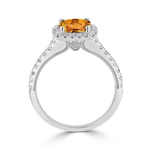 Halo Citrine Diamond Ring in 14K White Gold with 1.85 carat Cushion Citrine
