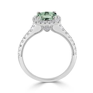 Halo Green Amethyst Diamond Ring in 14K White Gold with 1.30 carat Cushion Green Amethyst