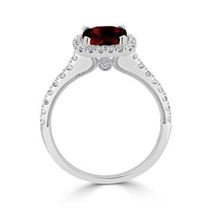 Halo Garnet Diamond Ring in 14K White Gold with 1.85 carat Cushion Garnet