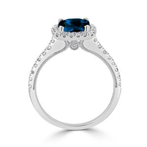 Halo London Blue Topaz Diamond Ring in 14K White Gold with 1.85 carat Cushion London Blue Topaz