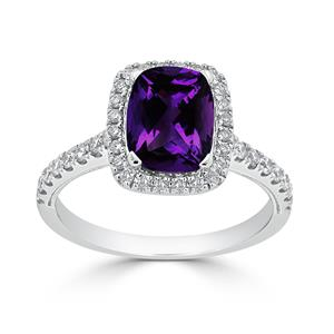 Halo Purple Amethyst Diamond Ring in 14K White Gold with 1.30 carat Cushion Purpe Amethyst