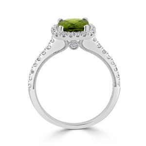 Halo Peridot Diamond Ring in 14K White Gold with 1.85 carat Cushion Peridot