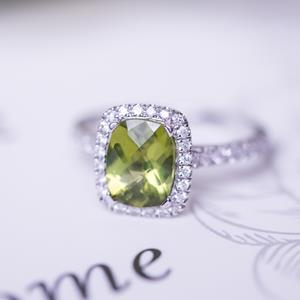 Halo Peridot Diamond Ring in 14K White Gold with 1.85 carat Cushion Peridot