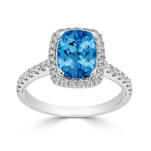 Halo Swiss Blue Topaz Diamond Ring in 14K White Gold with 1.85 carat Cushion Swiss Blue Topaz