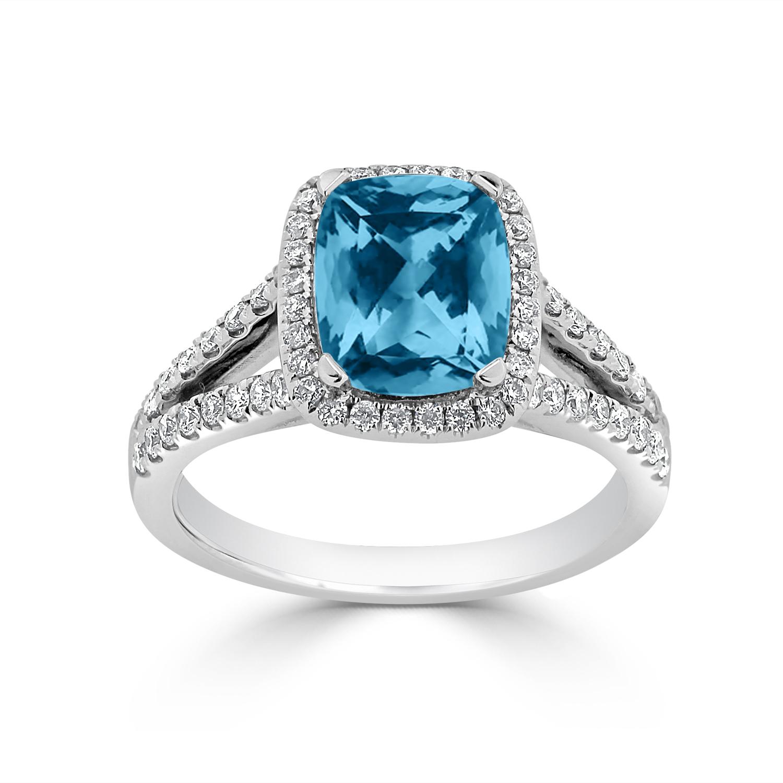 Halo Sky Blue Topaz Diamond Ring in 14K White Gold with 1.60 carat Cushion Sky Blue Topaz