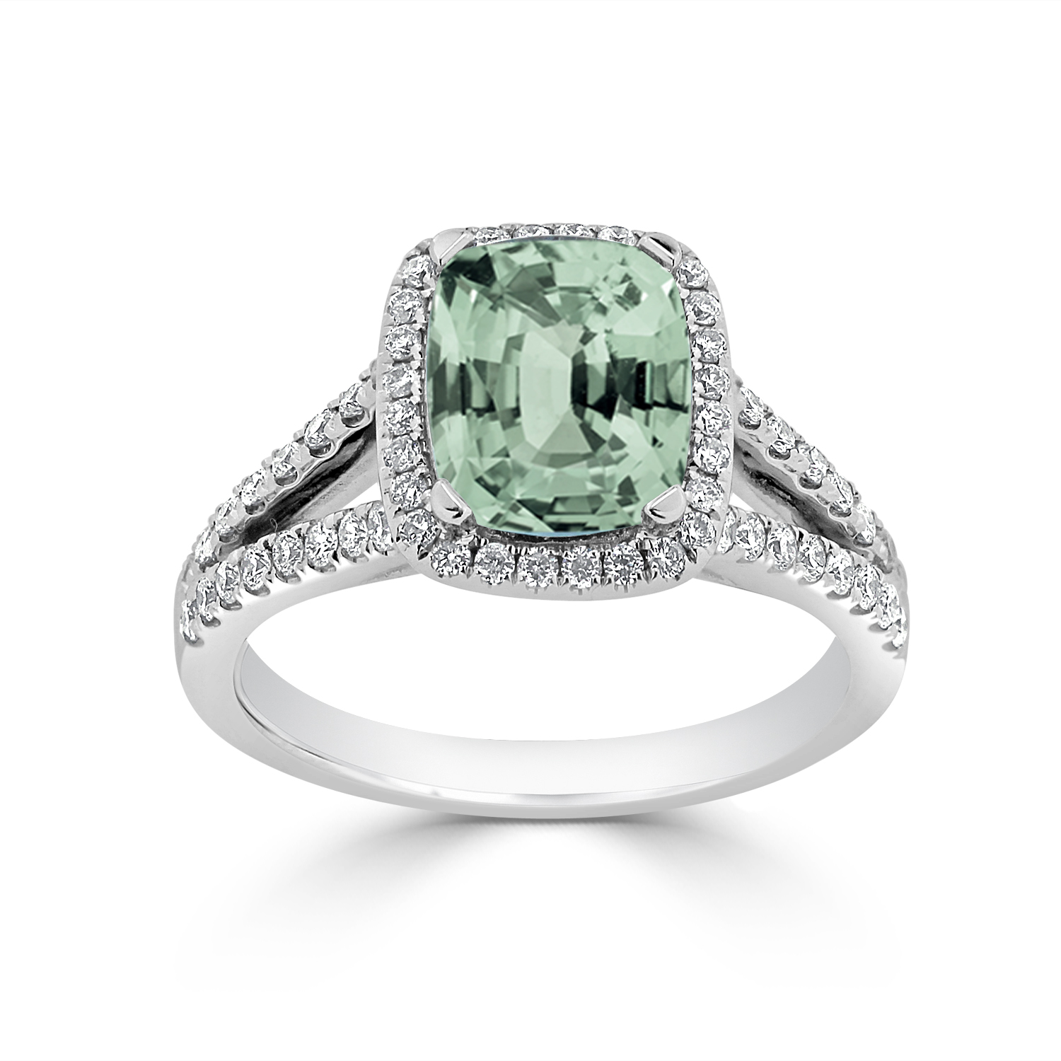 Halo Green Amethyst Diamond Ring in 14K White Gold with 1.10 carat Cushion Green Amethyst