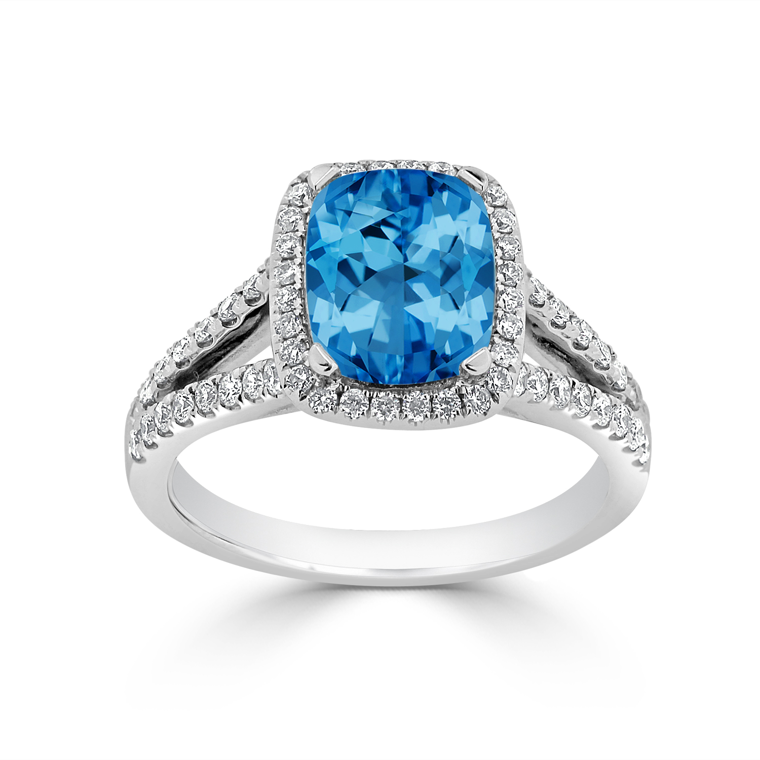 Halo Swiss Blue Topaz Diamond Ring in 14K White Gold with 1.60 carat Cushion SwissBlue Topaz