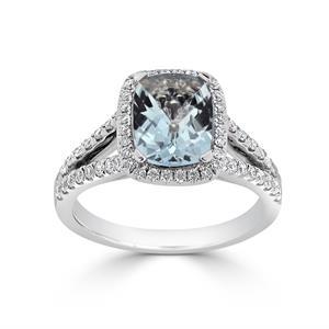 Halo Aquamarine Diamond Ring in 14K White Gold with 1.10 carat Cushion Aquamarine