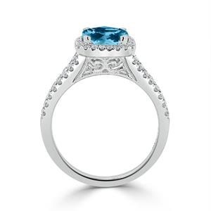 Halo Sky Blue Topaz Diamond Ring in 14K White Gold with 1.60 carat Cushion Sky Blue Topaz