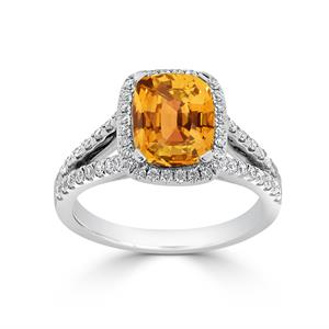 Halo Citrine Diamond Ring in 14K White Gold with 1.60 carat Cushion Citrine