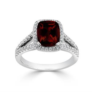Halo Garnet Diamond Ring in 14K White Gold with 1.60 carat Cushion Garnet