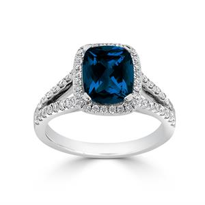 Halo London Blue Topaz Diamond Ring in 14K White Gold with 1.60 carat Cushion London Blue Topaz