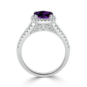 Halo Purple Amethyst Diamond Ring in 14K White Gold with 1.10 carat Cushion Purple Amethyst