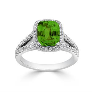 Halo Peridot Diamond Ring in 14K White Gold with 1.60 carat Cushion Peridot