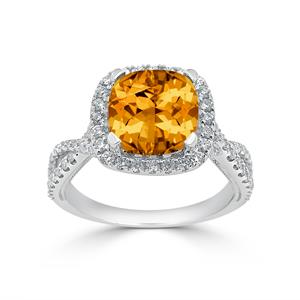 Halo Citrine Diamond Ring in 14K White Gold with 3.10 carat Cushion Citrine