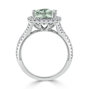 Halo Green Amethyst Diamond Ring in 14K White Gold with 2.15 carat Cushion Green Amethyst