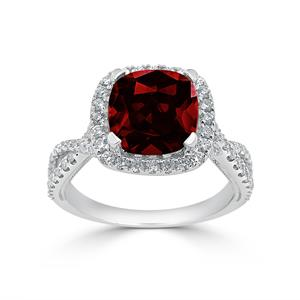 Halo Garnet Diamond Ring in 14K White Gold with 3.10 carat Cushion Garnet
