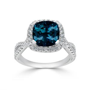 Halo London Blue Topaz Diamond Ring in 14K White Gold with 3.10 carat Cushion London Blue Topaz