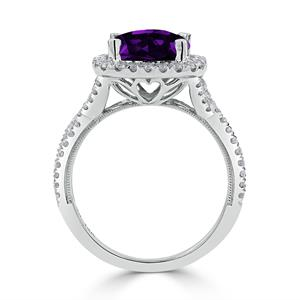 Halo Purple Amethyst Diamond Ring in 14K White Gold with 2.15 carat Cushion Purple Amethyst
