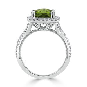 Halo Peridot Diamond Ring in 14K White Gold with 3.10 carat Cushion Peridot