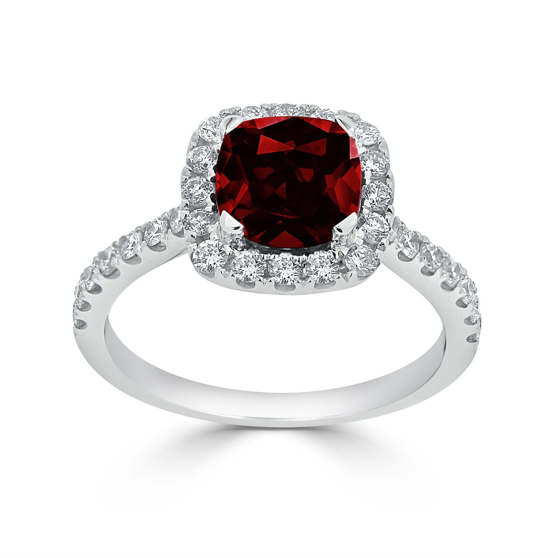 Halo Garnet Diamond Ring in 14K White Gold with 1.30 carat Cushion Garnet