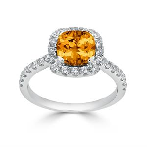 Halo Citrine Diamond Ring in 14K White Gold with 1.30 carat Cushion Citrine