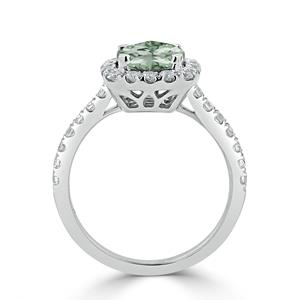 Halo Green Amethyst Diamond Ring in 14K White Gold with 0.90 carat Cushion Green Amethyst