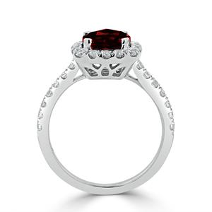 Halo Garnet Diamond Ring in 14K White Gold with 1.30 carat Cushion Garnet