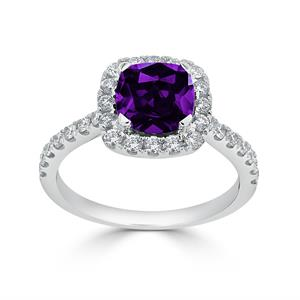 Halo Purple Amethyst Diamond Ring in 14K White Gold with 0.90 carat Cushion Purple Amethyst